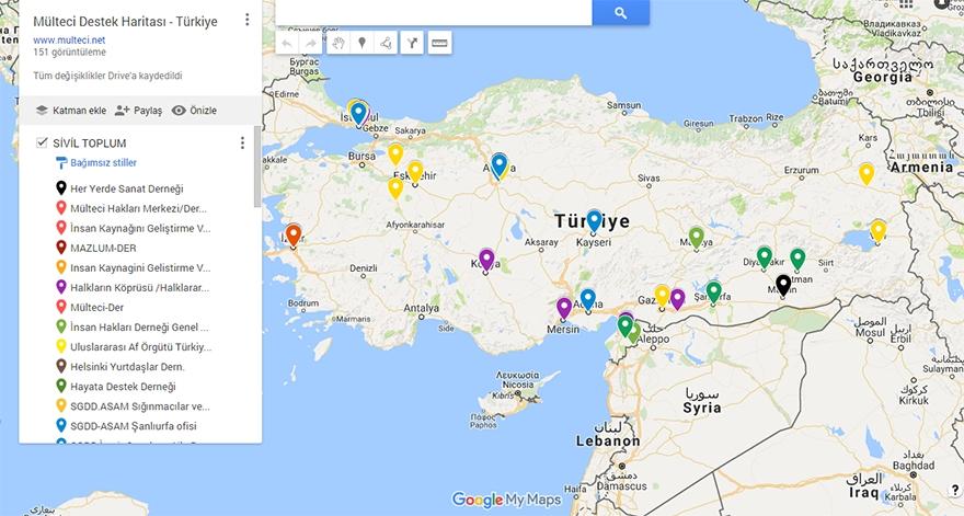 Mülteci Destek Haritası yayında